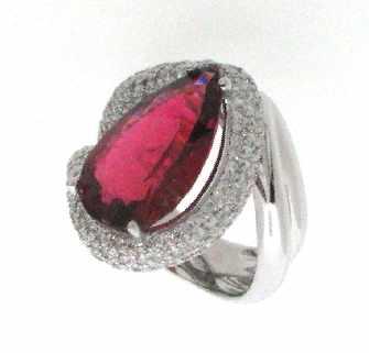 anello tormalina rubellite taglio goccia con diamanti