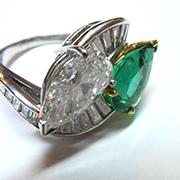 smeraldo e diamanti taglio goccia